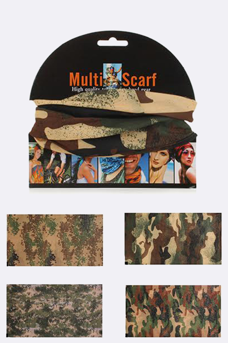 Camouflage Convertible Head Wrap Scarf Set