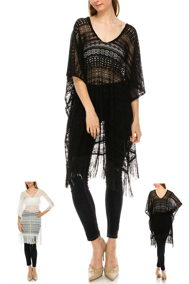 Mix Patterned Lace Poncho