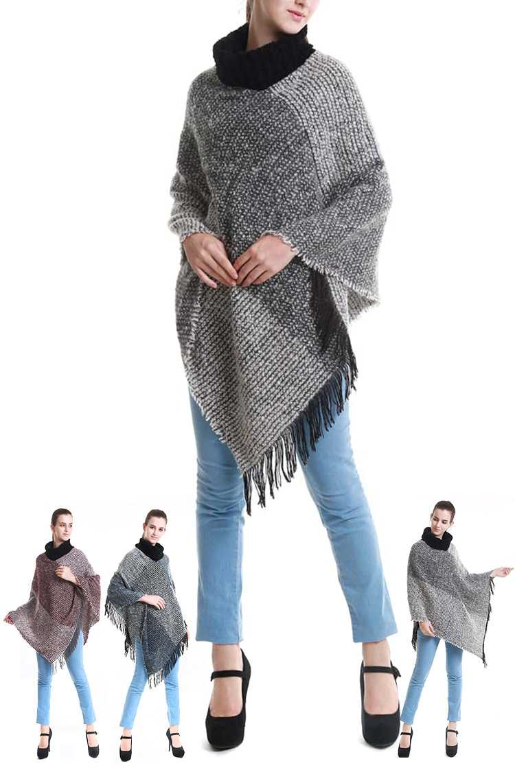 Block Color Turtleneck Poncho