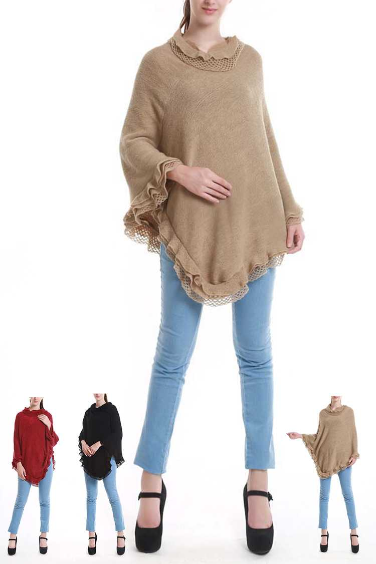 Layer Ruffled Ends Poncho