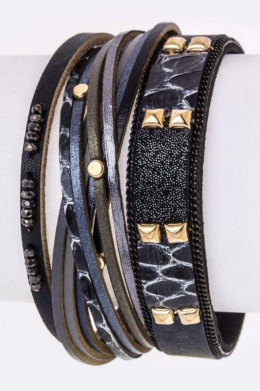 Mix Studs Layer Leather Magnetic Bracelet