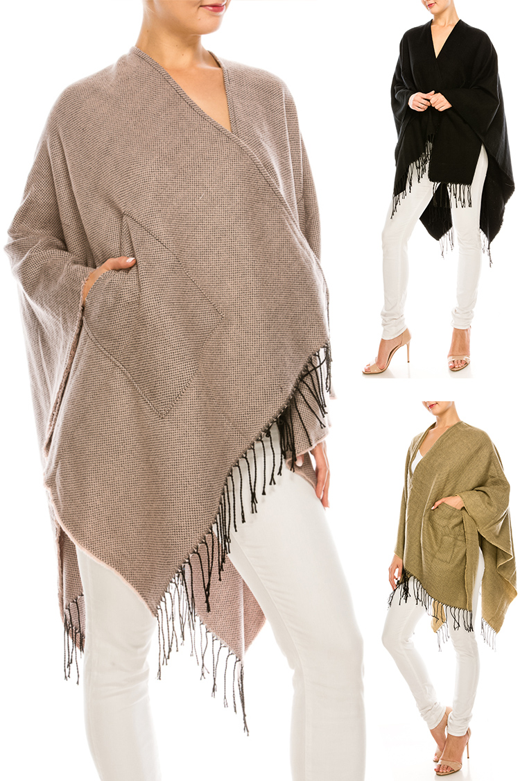 Fringe Pocket Large Shawl Scarf