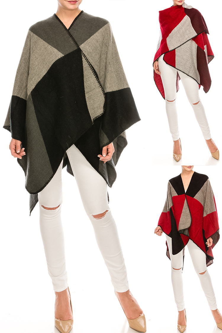 Color Block Whip Stitch Poncho