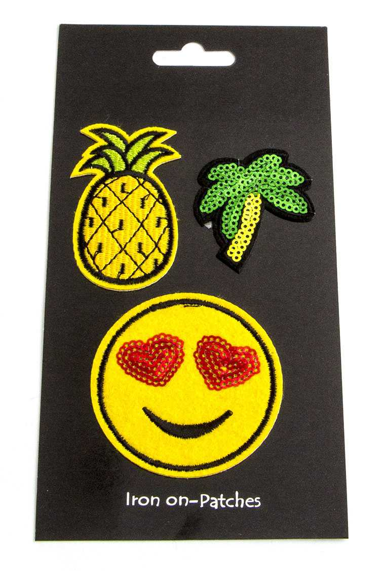 Smiley Pineapple Palm Patches Set