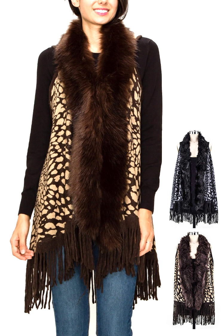 Faux Fur Animal Print Fringe Vest