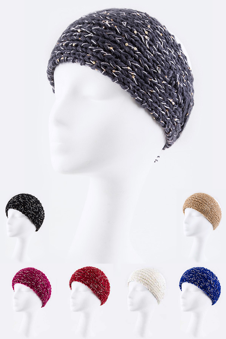Lurex Fashion Knit Wide Head Wrap