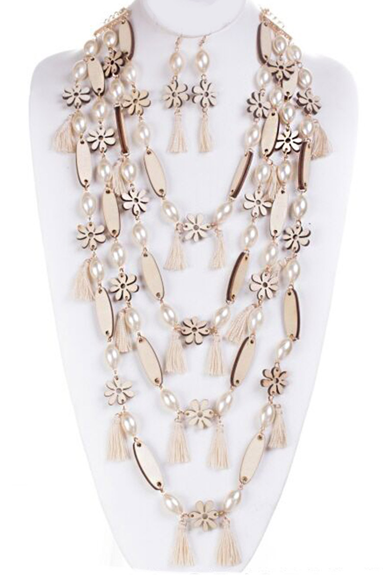 Wood Cutout Flower and Pearls Tassel Layer Necklace Set