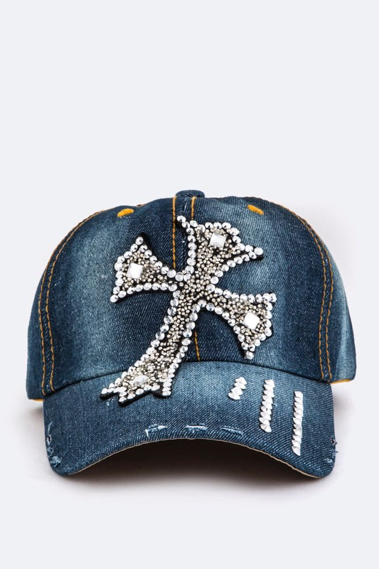 Crystal Cross Embellished Fashion Denim Cap