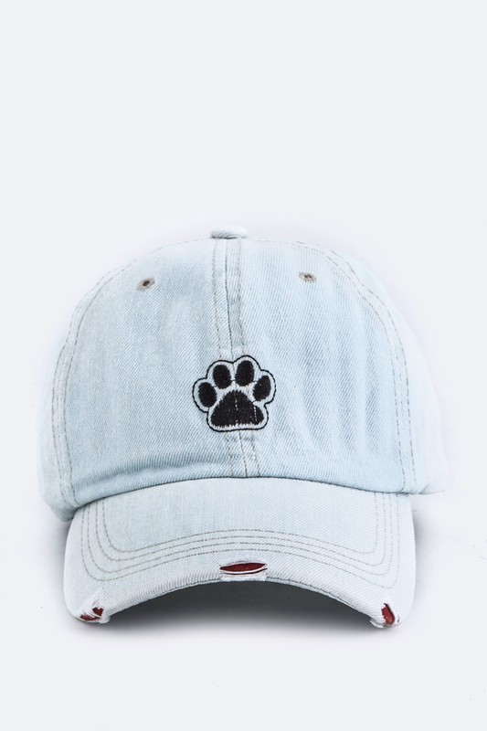 Paw Print Embroidered Distressed Denim Cap