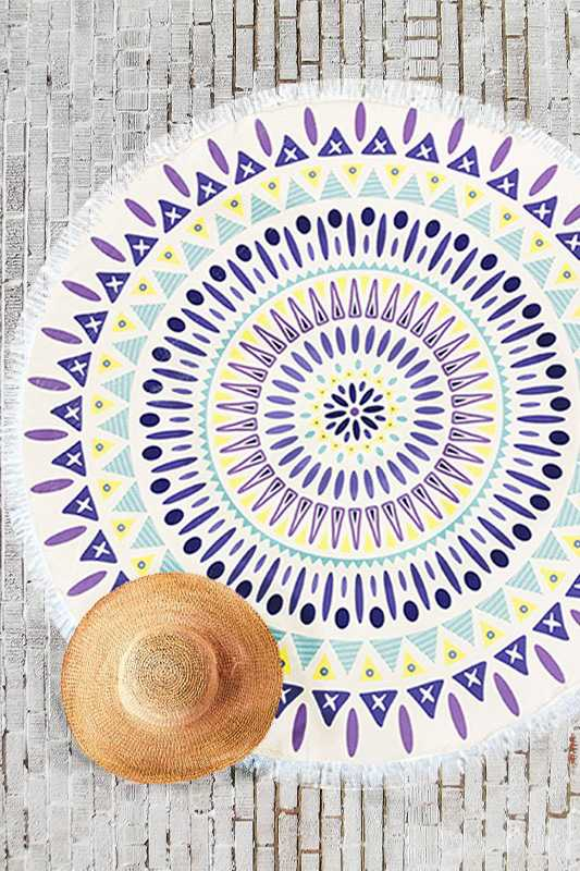 Fun Geo Print Terry Round Towel