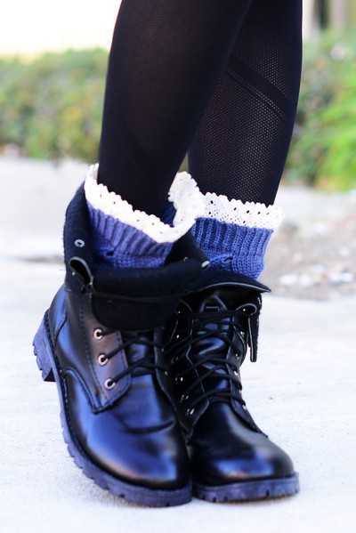 Diamond Knit Lace Bootie Leg Warmers
