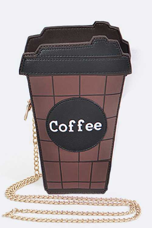 Coffee Cup Design Crossbody Bag