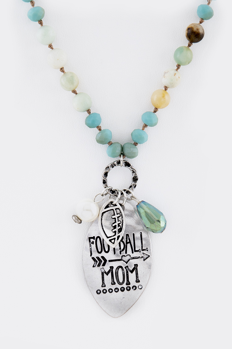 Football Mom Mix Beads Pendant Necklace Set