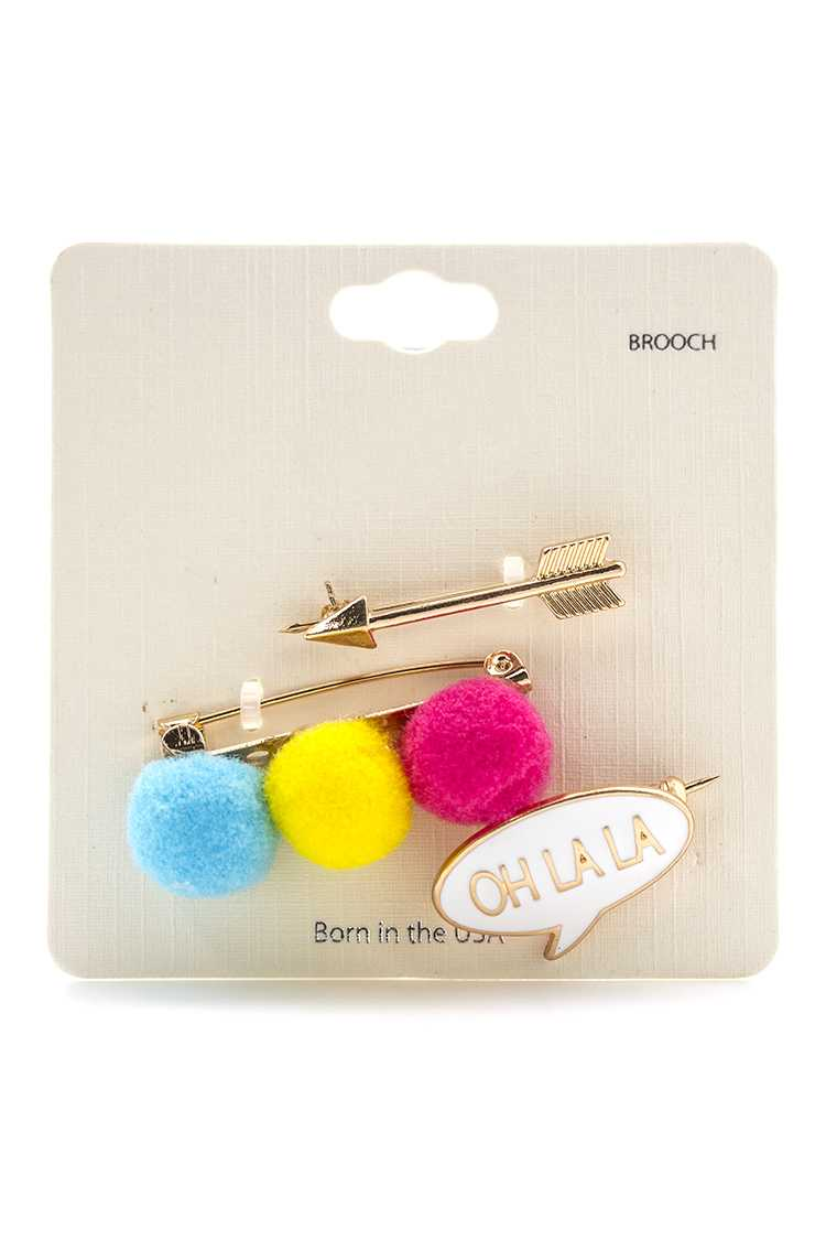 Ohlala PomPom Arrow Brooches Set
