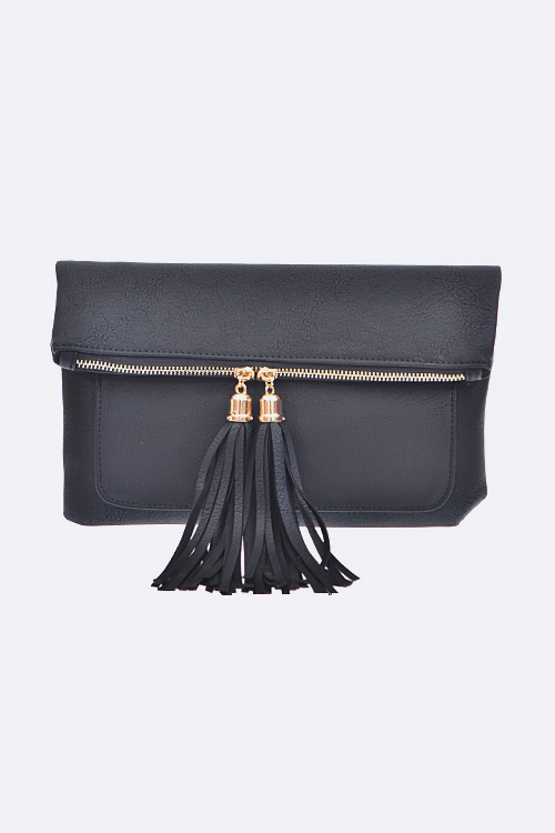 Double Tassel Fold Over Zip Clutch