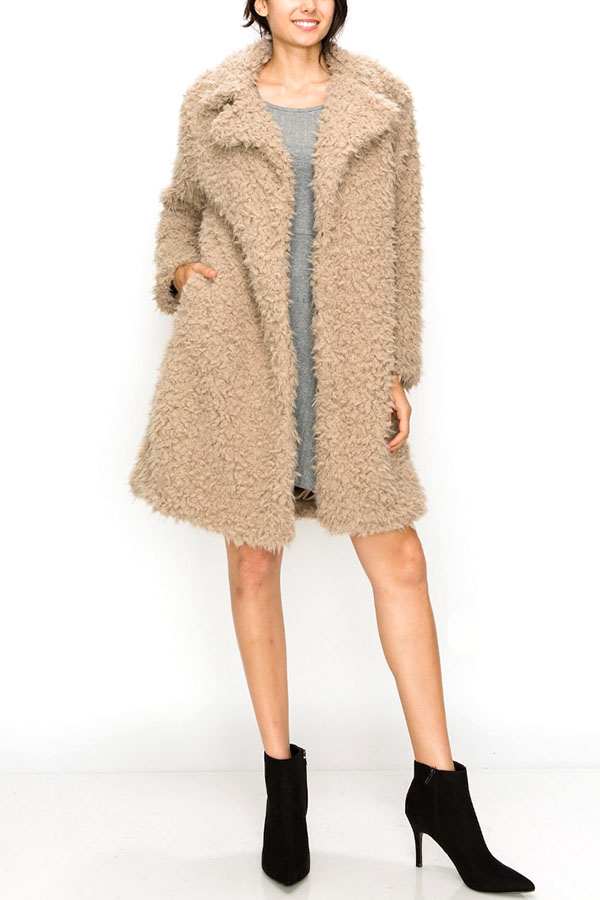 Fluffy Faux Fur Knee Length Coat
