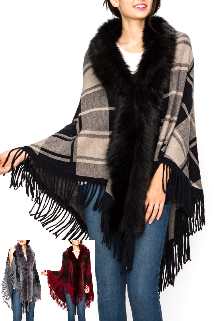 Faux Fur Trim Plaid Fringe Shawl Scarf