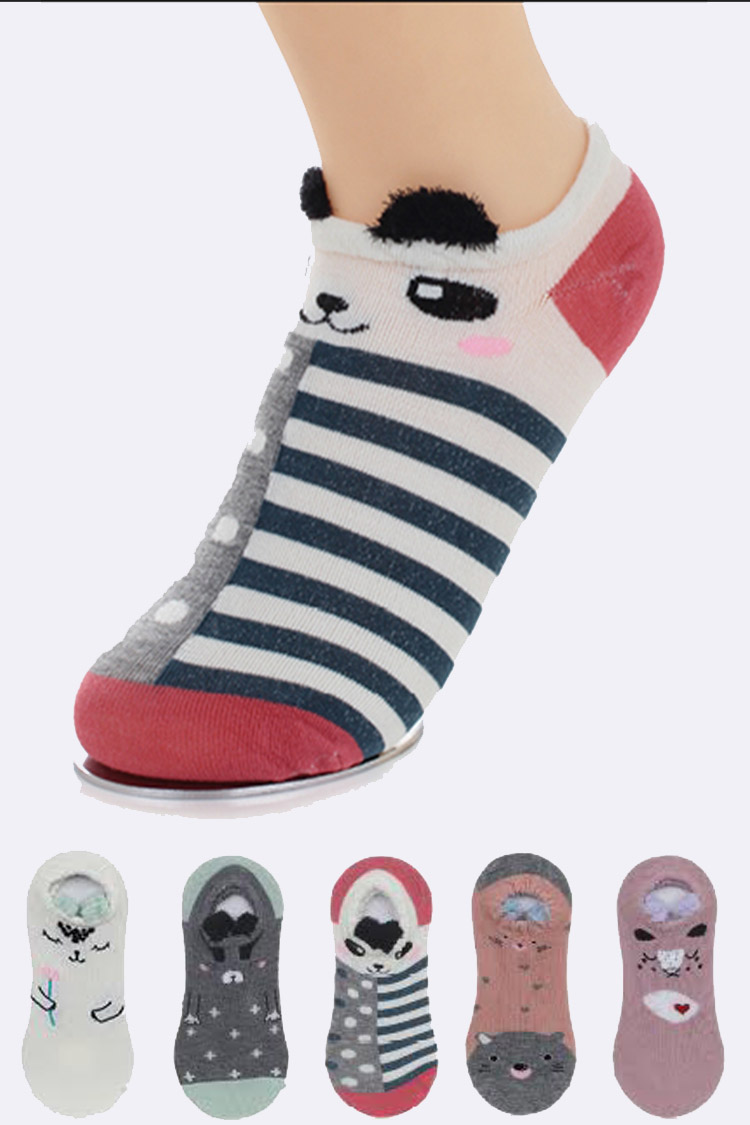 Assorted Intarsia Cute Pets Cotton Blend Socks