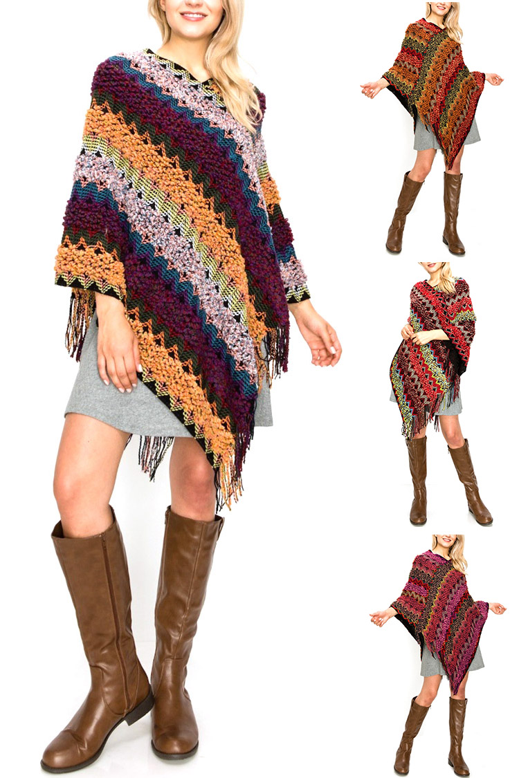 Loose Knit Mix Color Fashion Poncho