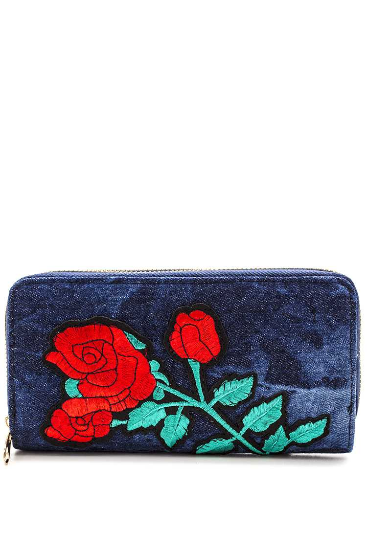 Embroidered Rose Denim Wallet