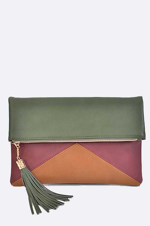 Color Piecing Folding Clutch Bag