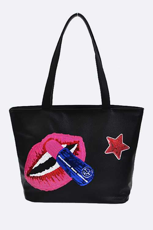 Sequins Mouth & Rouge Fashion Tote