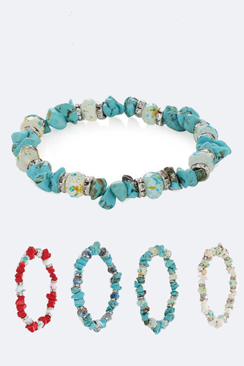 Mix Semi Precious Stone Stretch Bracelet Set