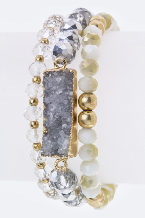 Rectangle Druzy Stretch Bracelet Set