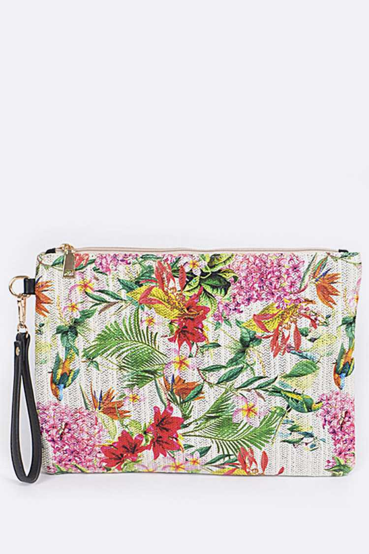 Tropical Flowers Print Wristlet Pouch
