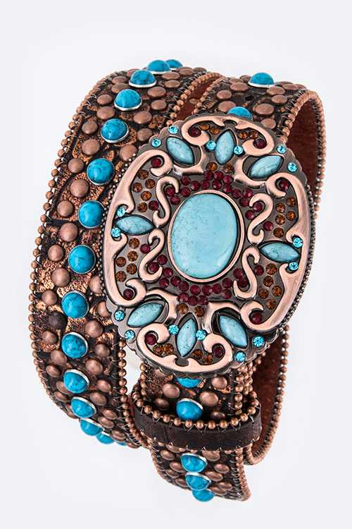 Turquoise Buckle Mix Studs Western Belt
