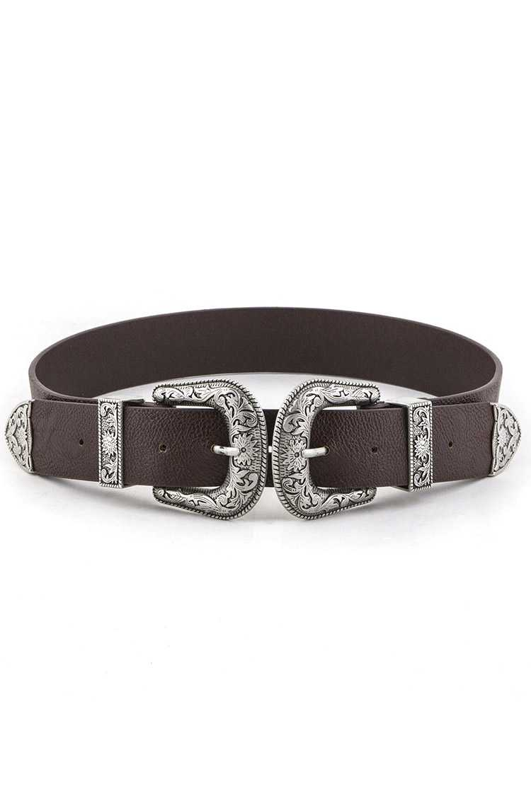 Double Buckles Fashion Belt