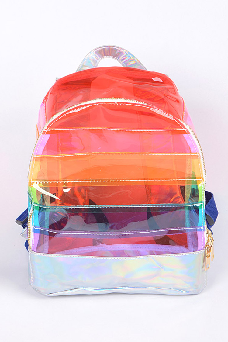 Rainbow Color Cleared Backpack
