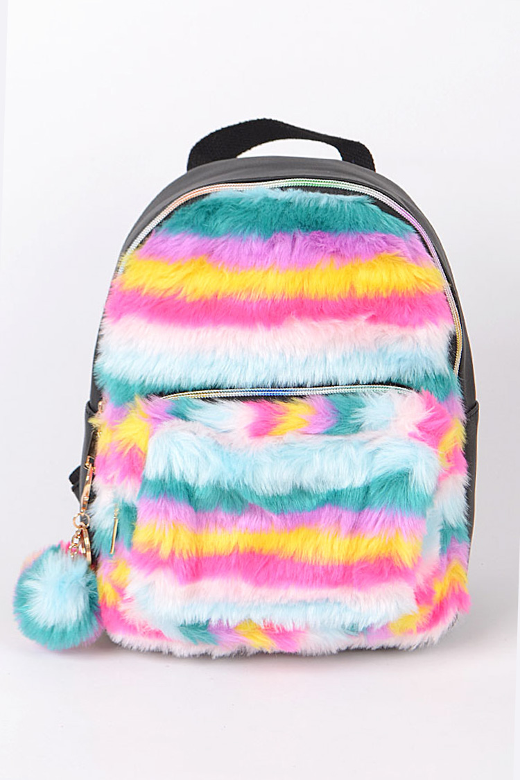 Rainbow Faux Fur Iconic Backpack