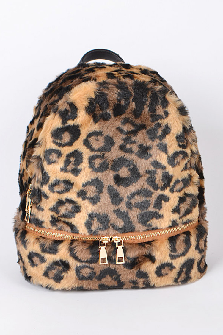 Leopard Print Faux Fur Iconic Backpack