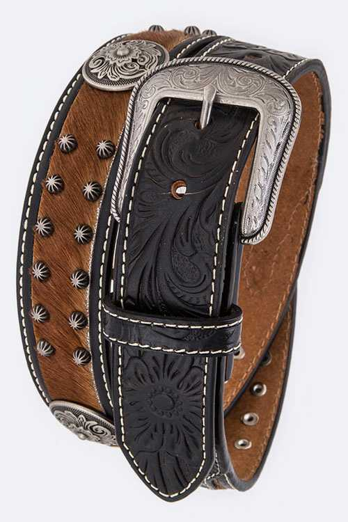Calf Leather Concho Studs Western Belt