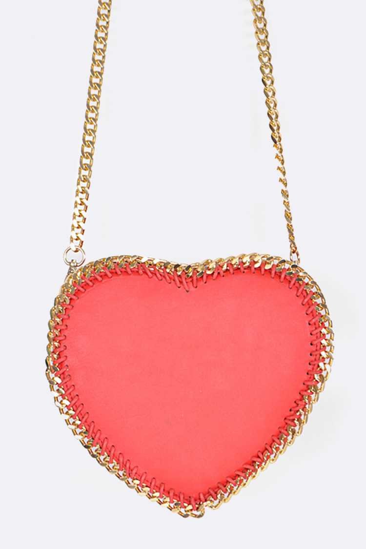 Laced Chain Leather Heart Clutch Bag