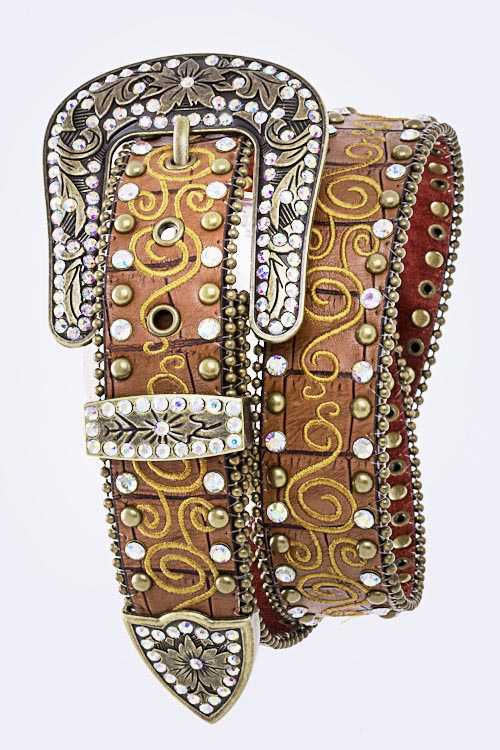 Swirly Embroidery Leather Belt