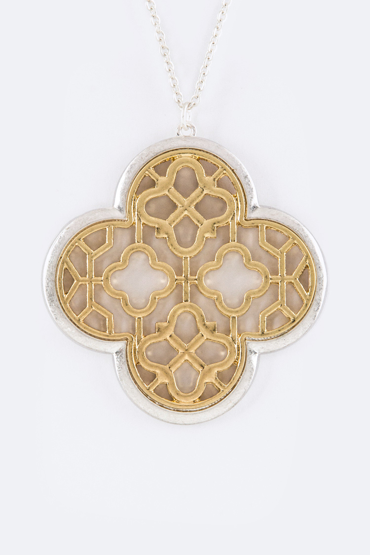 2 Tone Filigree Clover Pendant Necklace