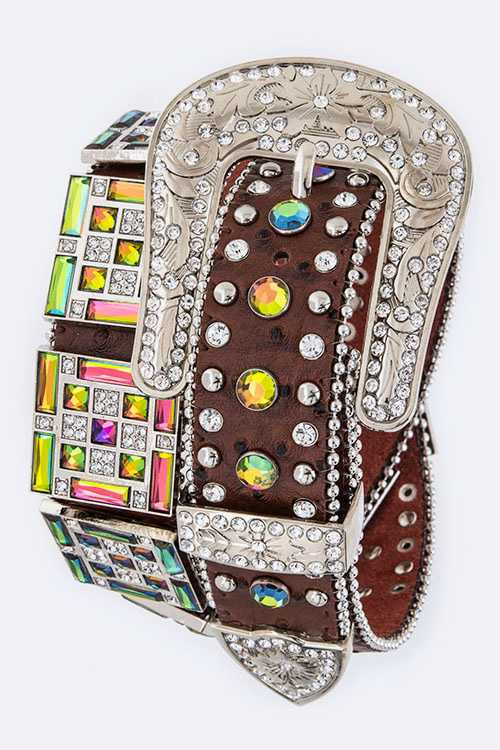 Crystal Square Plates Statement Leather Belt