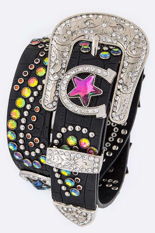 Horseshoe & Star Crystal Iconic Western Belt