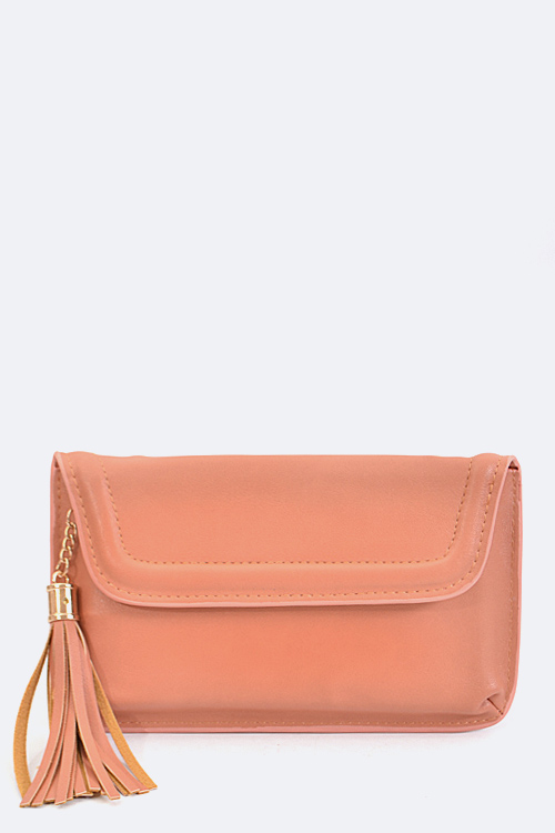 Tassel Accent Envelope Clutch