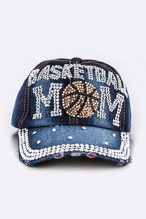 Crystal BASKETBALL MOM Embellished Fashion Denim Cap