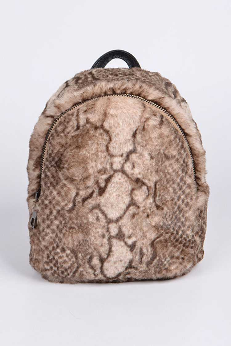 Python Snake Printed Faux Fur Back Pack