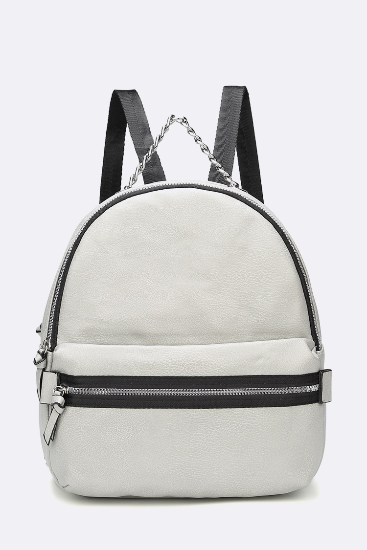 Iconic Chain Strap Leather Backpack