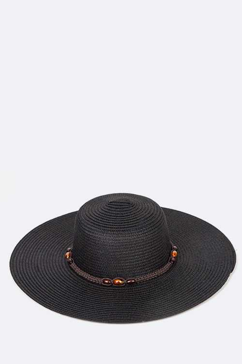 Braided Wooden Beads Band Straw Hat