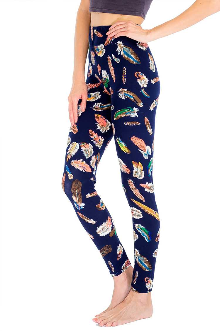 Mix Feathers Print Festival Blushed Leggings
