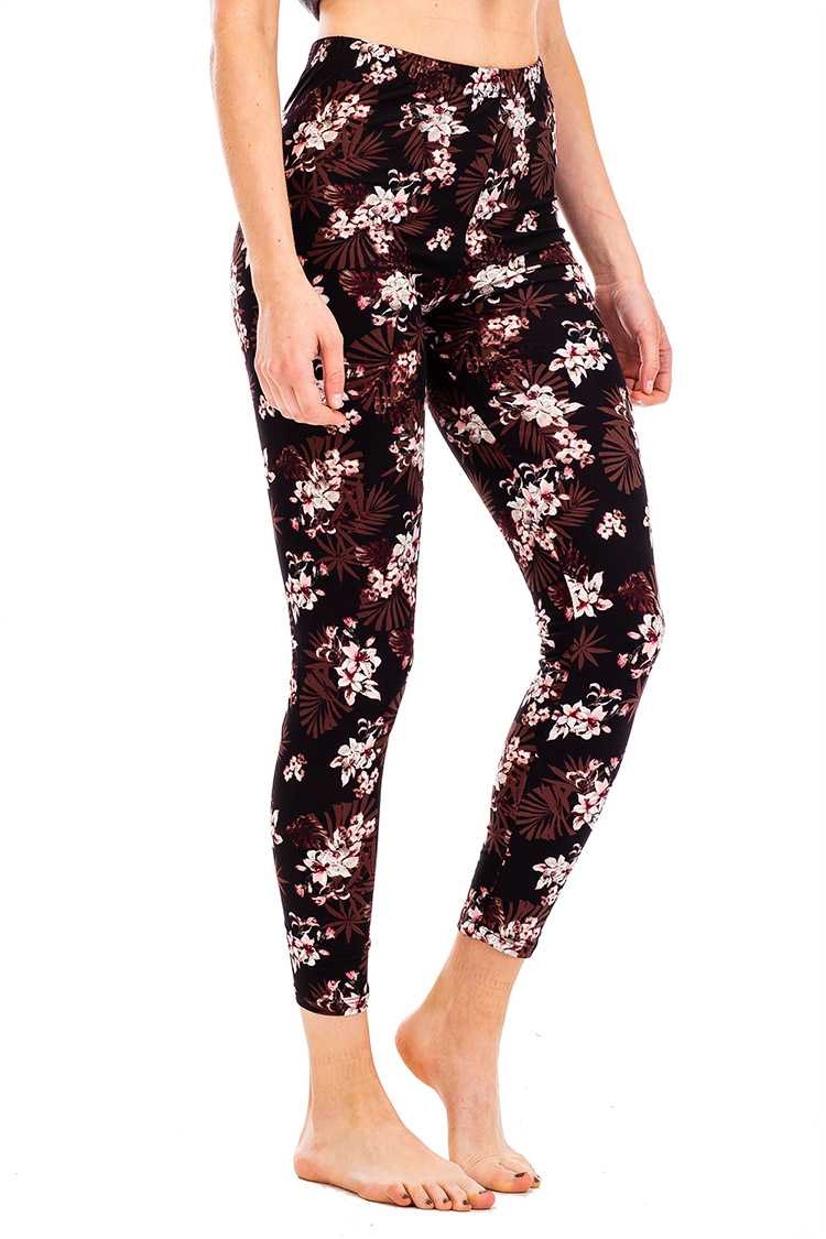 Peach Skin Floral Print Crop Leggings