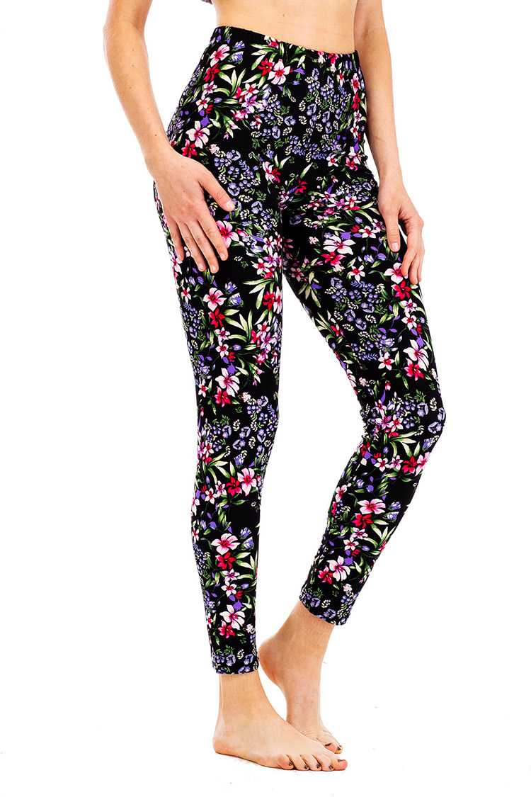Peach Skin Mix Floral Print Leggings