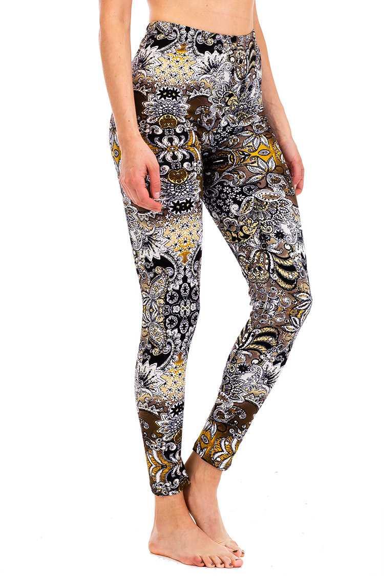 Peach Skin Mix Print Crop Leggings