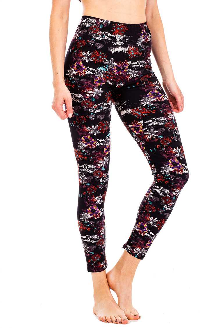 Mix Floral Print Peached Leggings